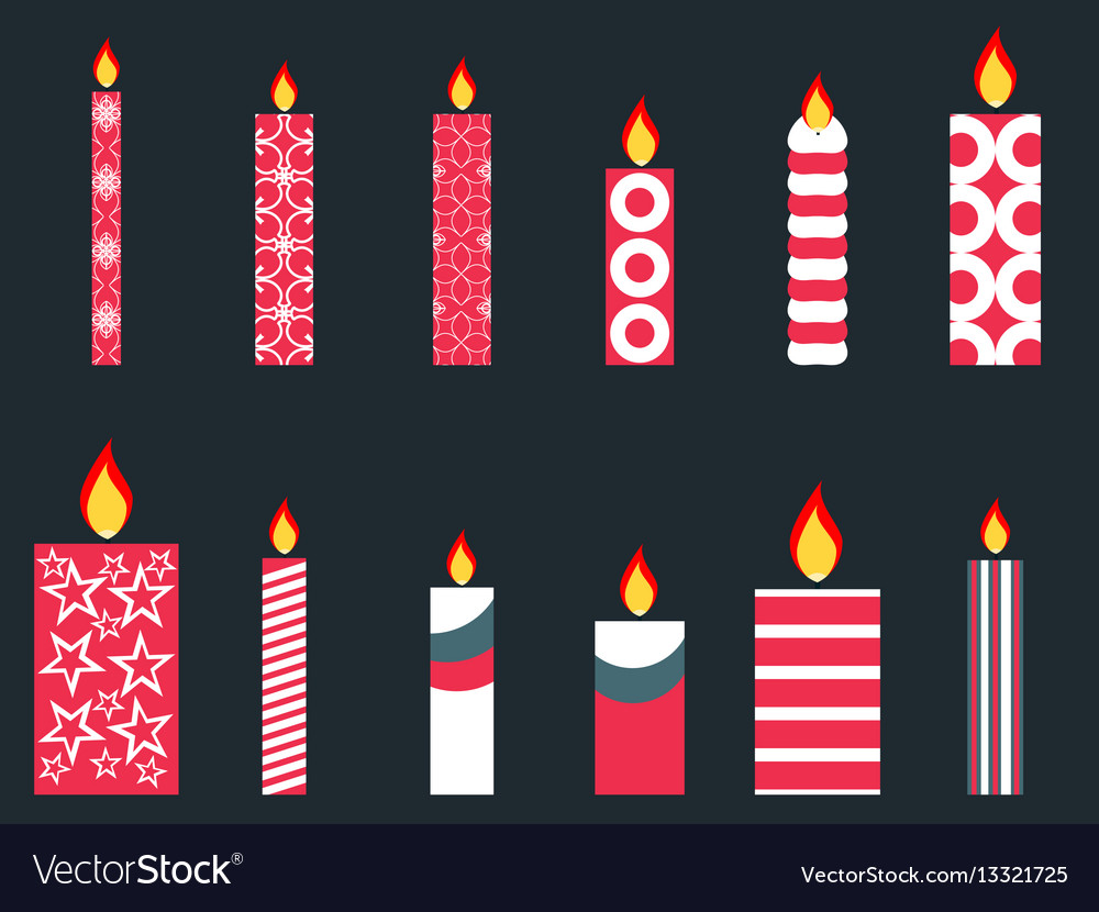 Christmas Candles.Set Of Christmas Candles In A Flat Style