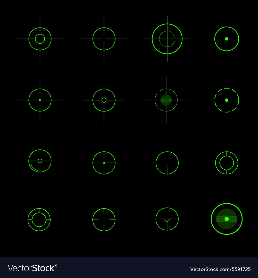 Set of different crosshairs