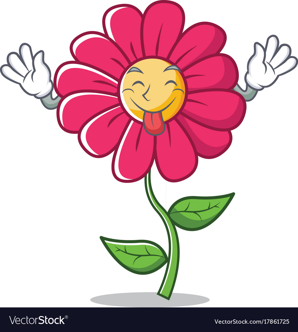 Tongue out pink flower character cartoon vector image mightylinksfo