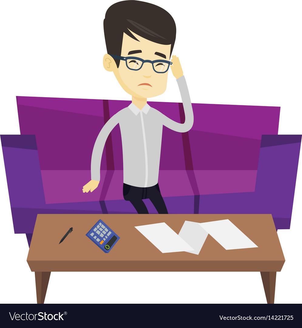 Unhappy asian man accounting home bills vector image