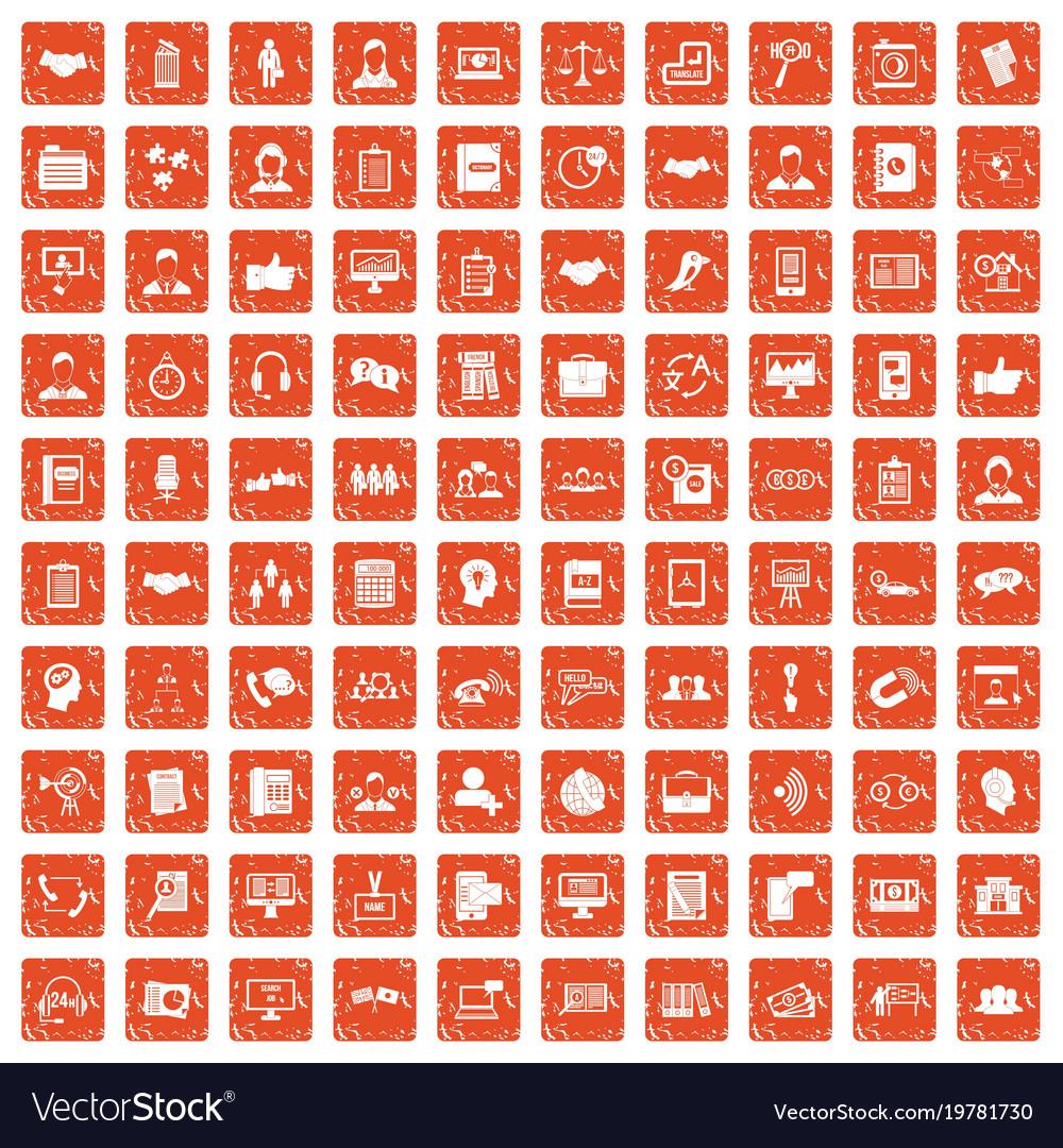100 discussion icons set grunge orange