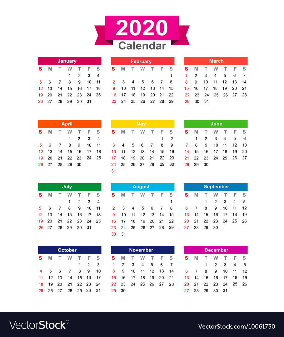 Calendar 2020 Year 2020 Year calendar isolated on white background Vector Image