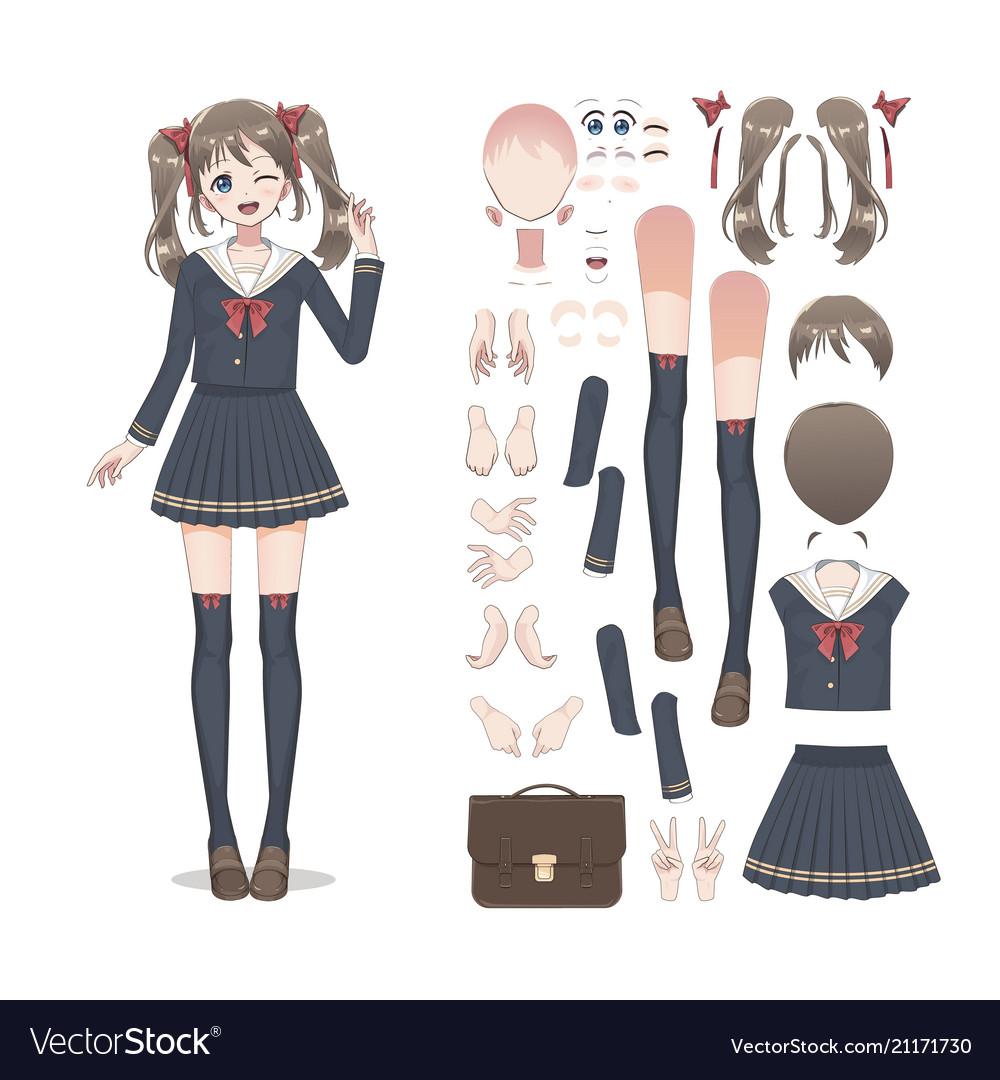 Pixel Art Anime School Girl