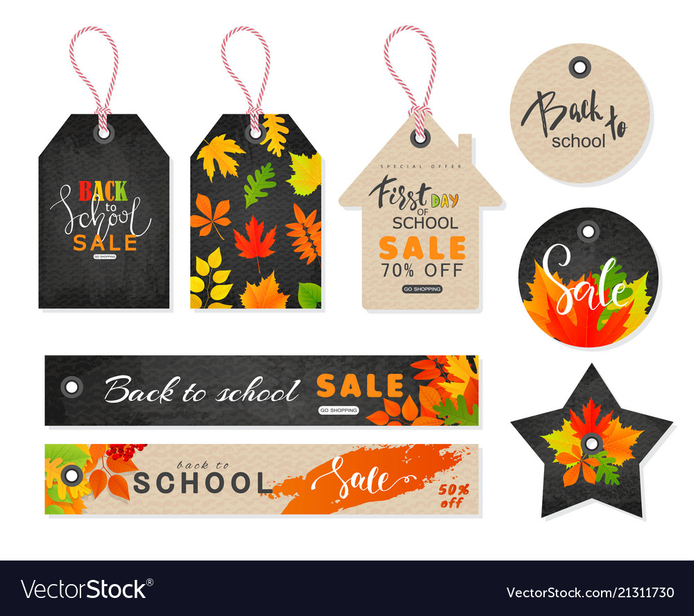 Back to school sale tags set with autumn leaves