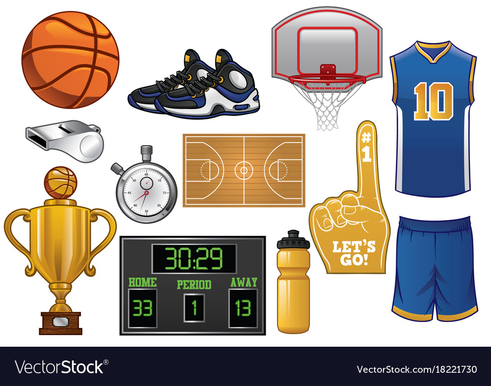 2ad5d8c9ad7a Basketball equipment set Royalty Free Vector Image