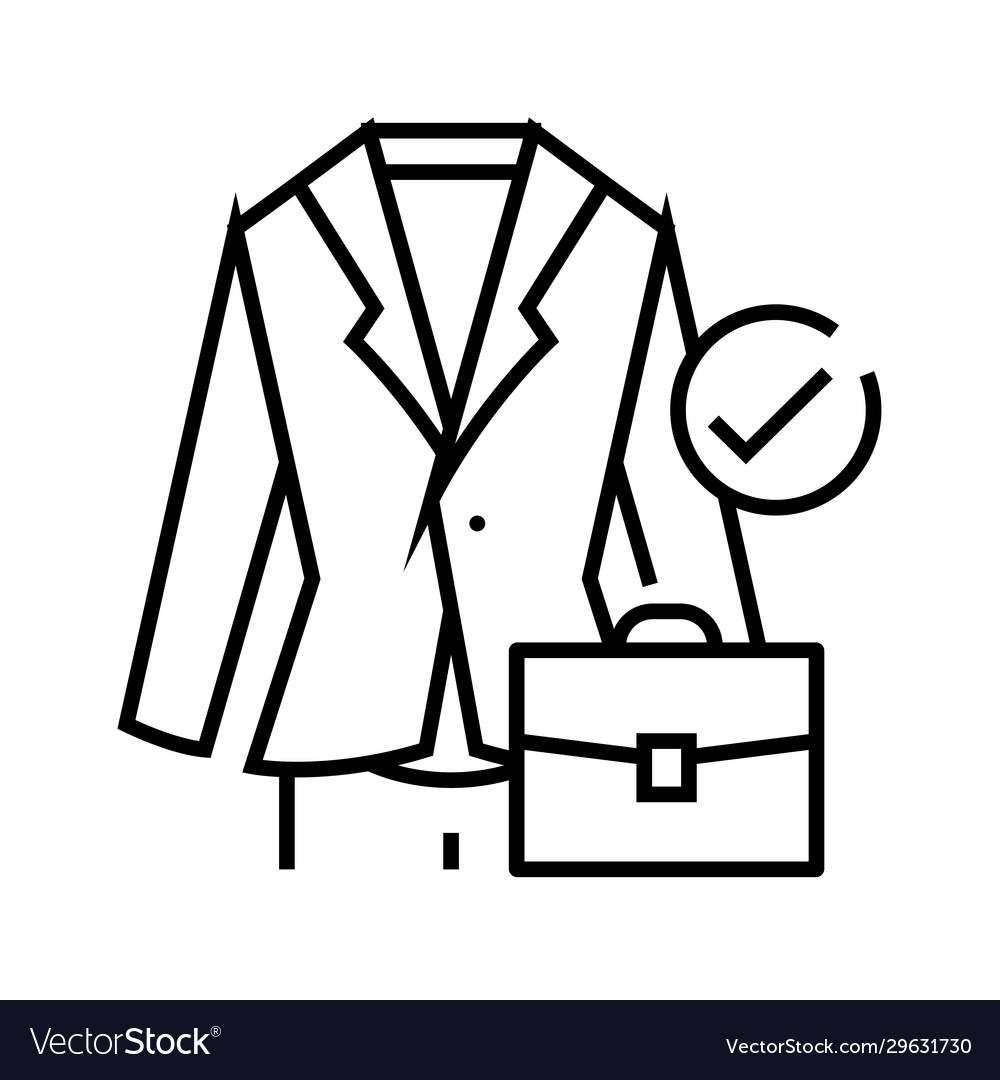 Business suit line icon concept sign outline