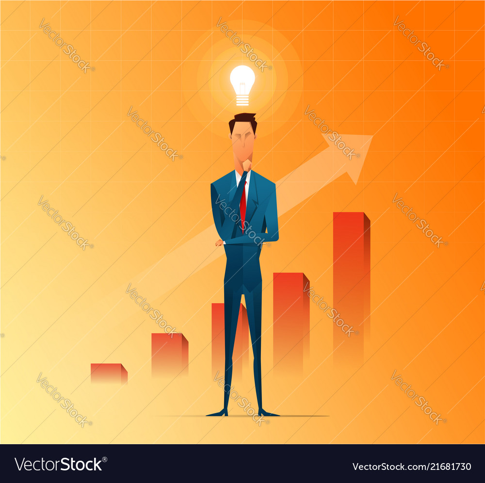 Businessman thinking and getting ideas to success