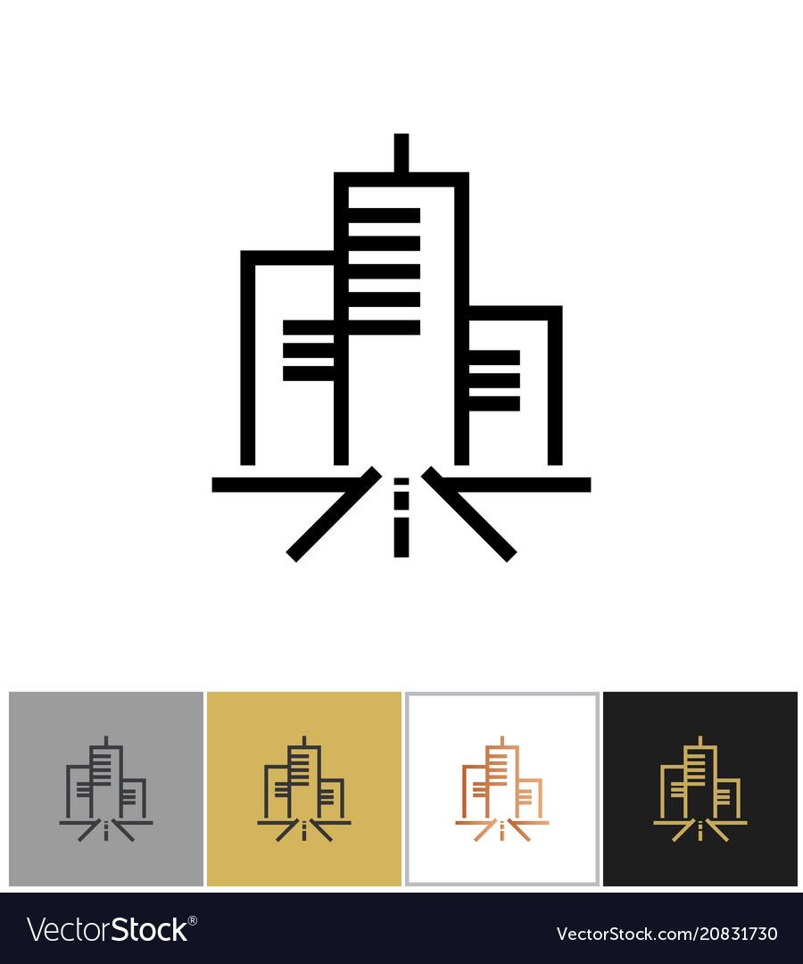 City icon urban living sign or metropolitan