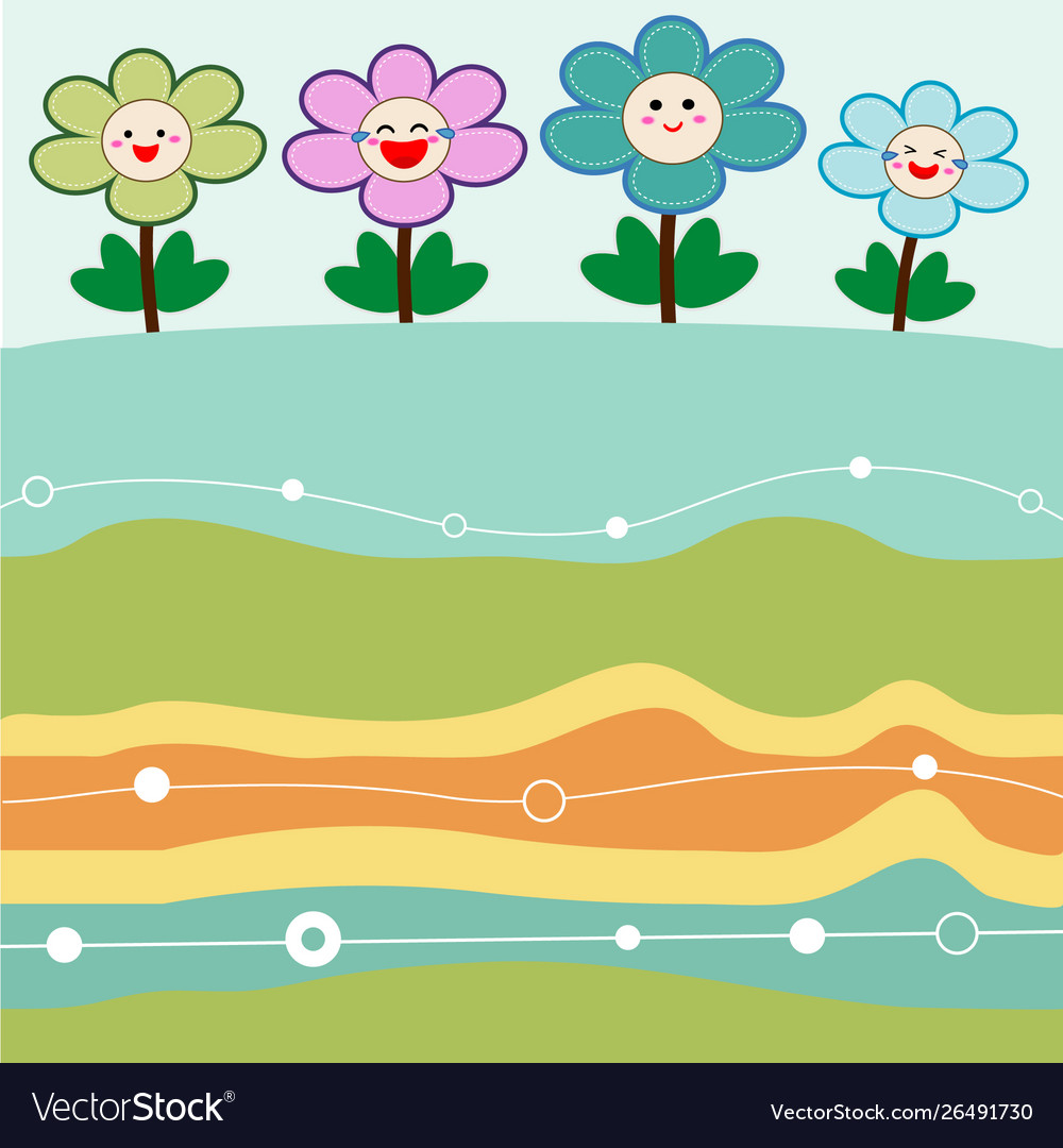 Cute flowers with retro background