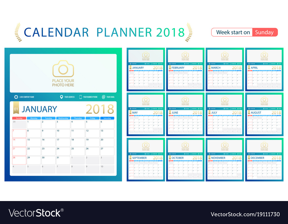 English calendar planner for year 2018 week start