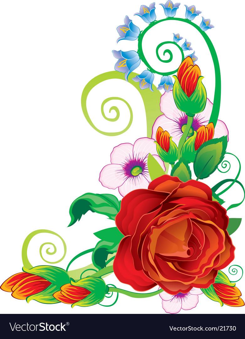 Floral rose border Royalty Free Vector Image - VectorStock