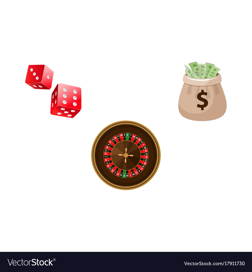 Gambling symbols - roulette dices and money bag