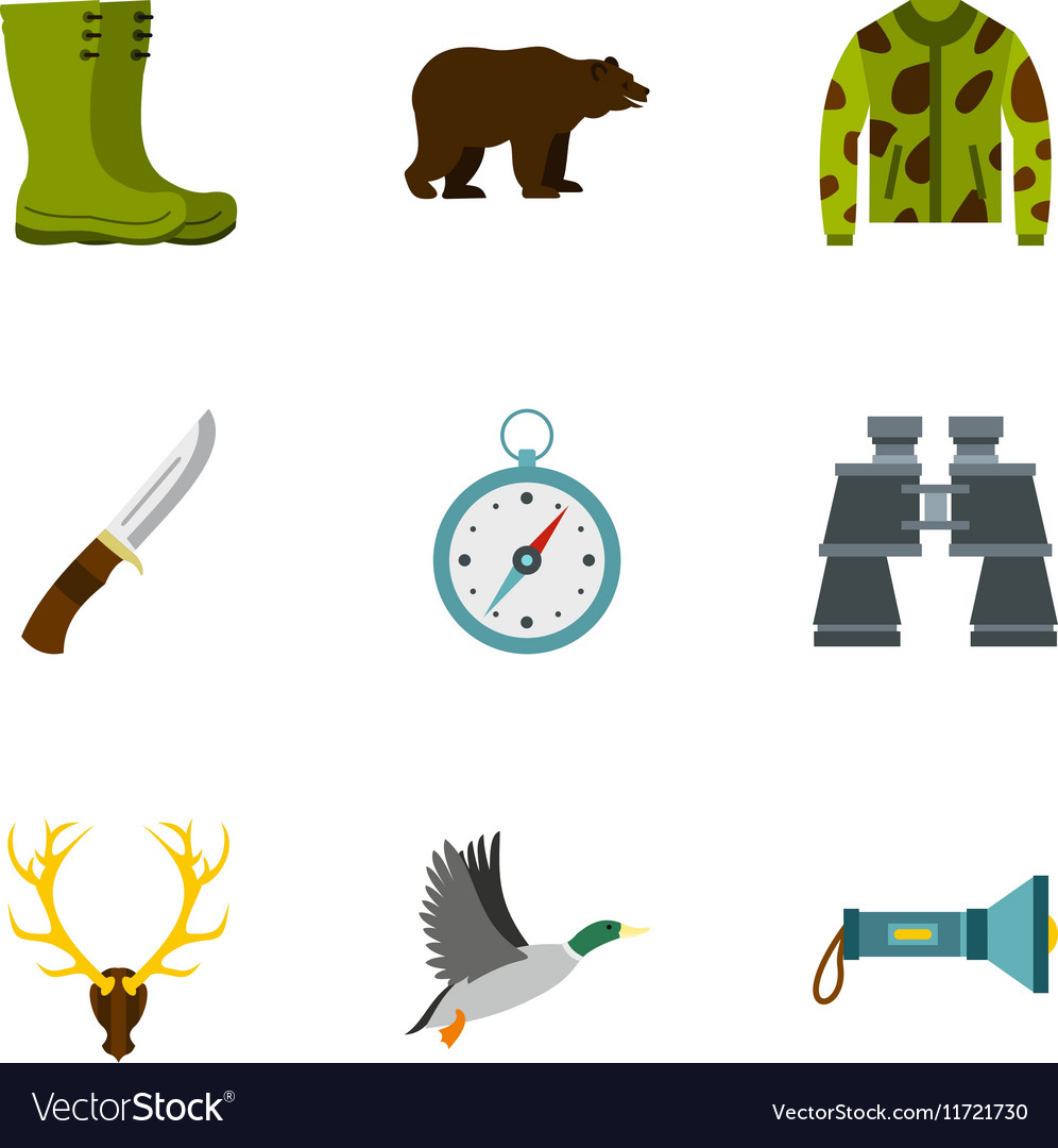 Hunting in forest icons set flat style