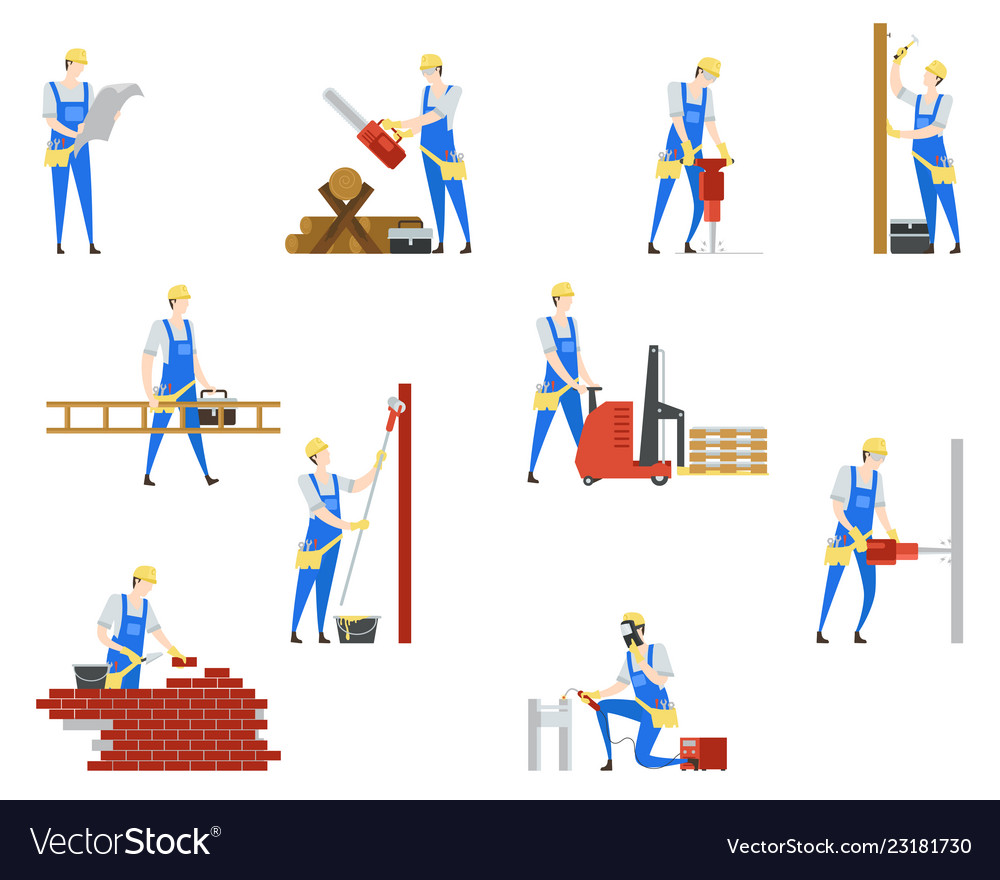 People at builder professions job and work