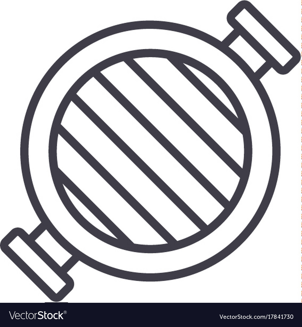 Round grill line icon sign