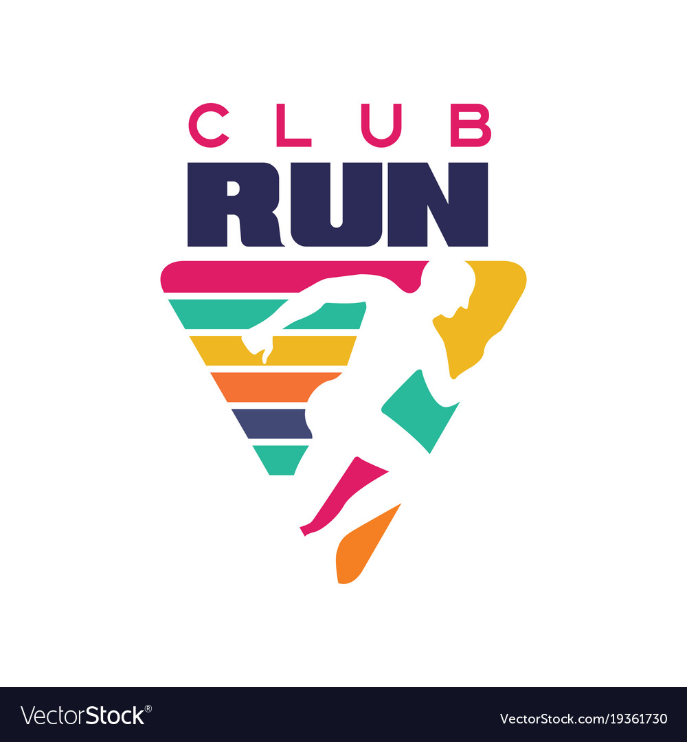 Run club logo template label for sports club