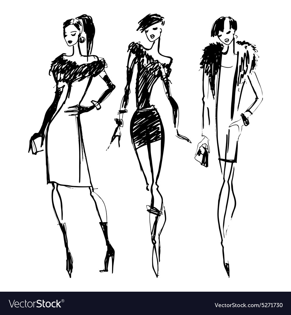 Silhouettes Of Fashion Women Royalty Free Vector Image