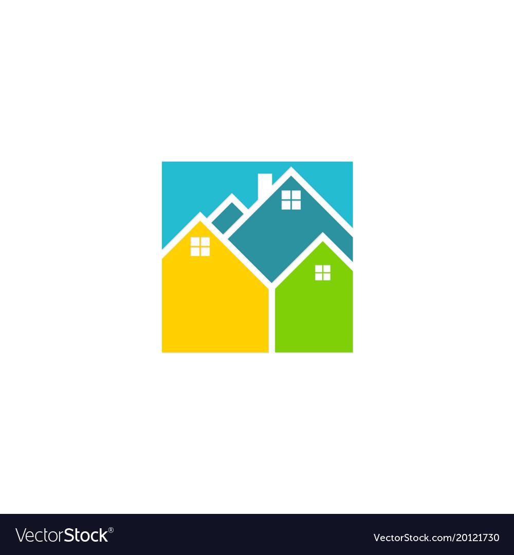 Square house colorful logo