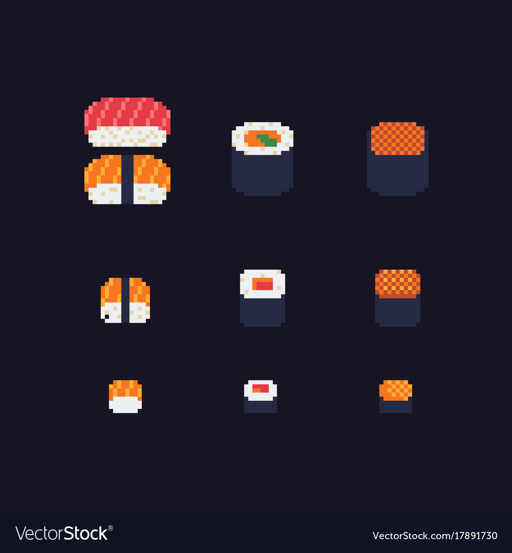 Sushi and rolls pixel art icons set