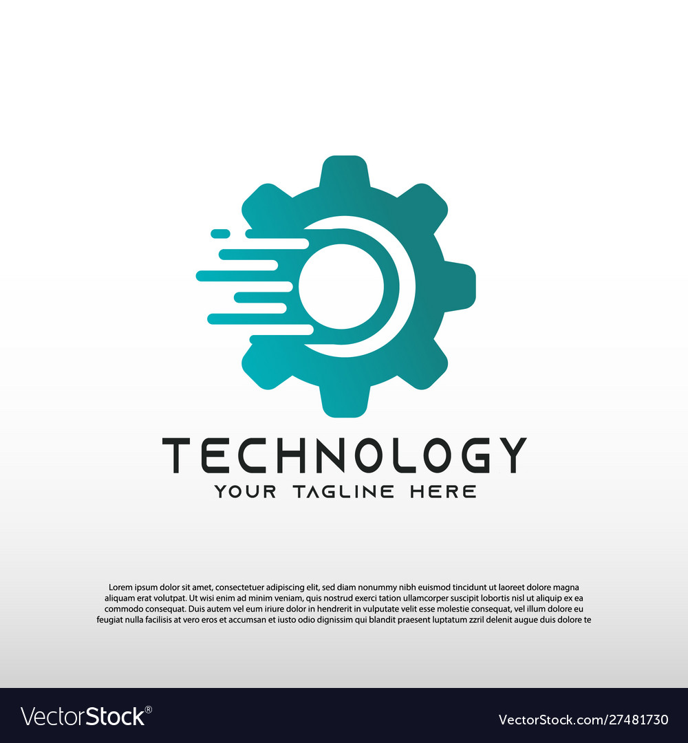 Technology logo with gear concept element