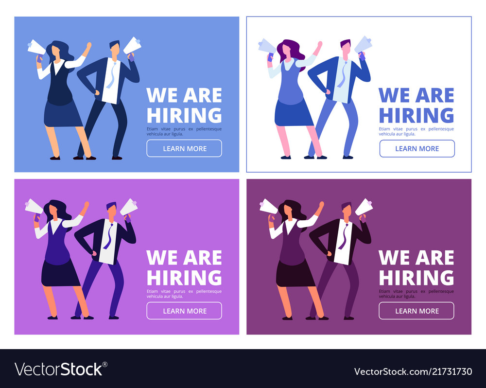 We are hiring concept man and woman with