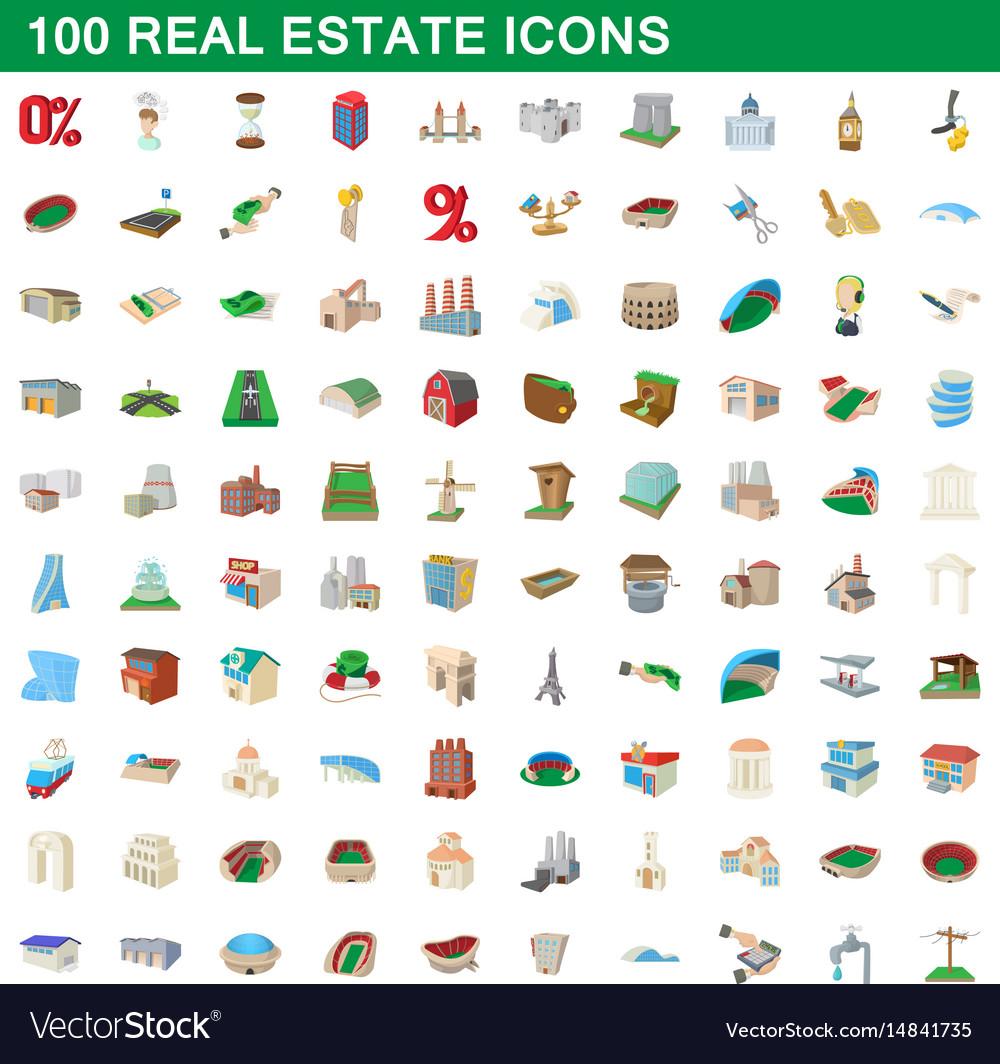 100 real estate icons set cartoon style