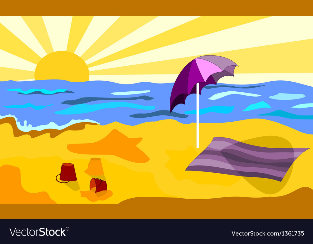 Beach in a sunny day vector image