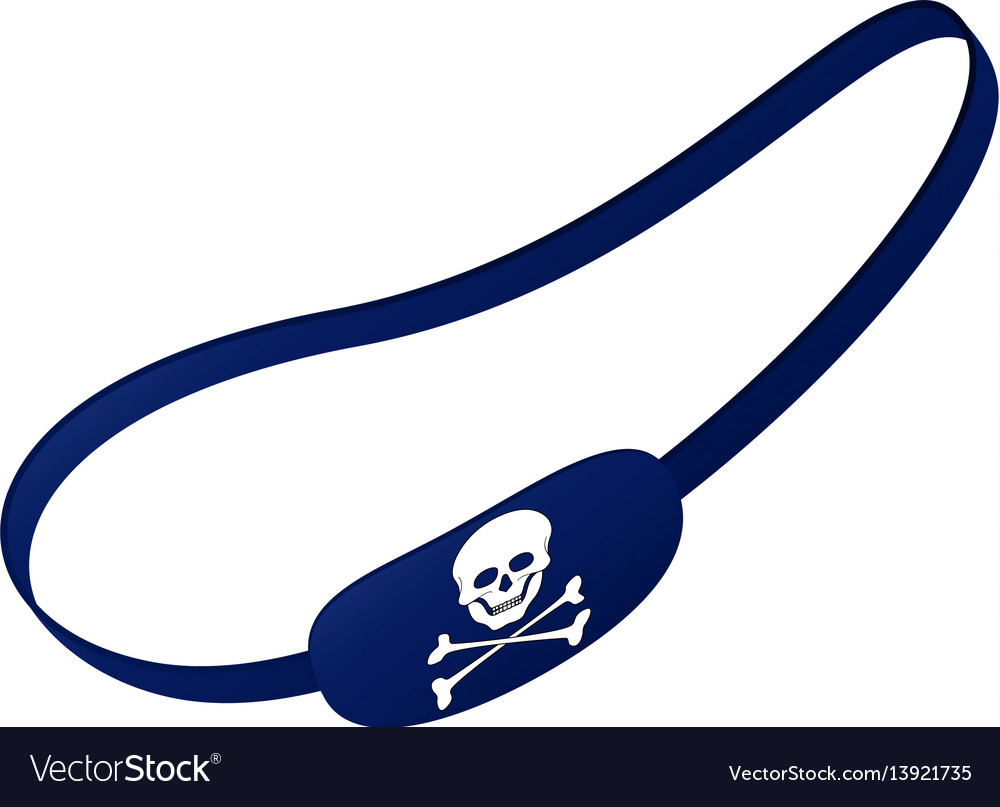 Blue eye patch with skull symbol vector image