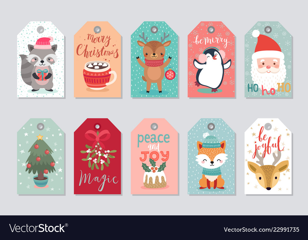 Christmas Gift Tags.Christmas Gift Tags Set With Cute Characters