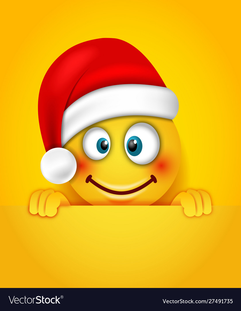 Christmas happy cheerful emoticon in santa hat