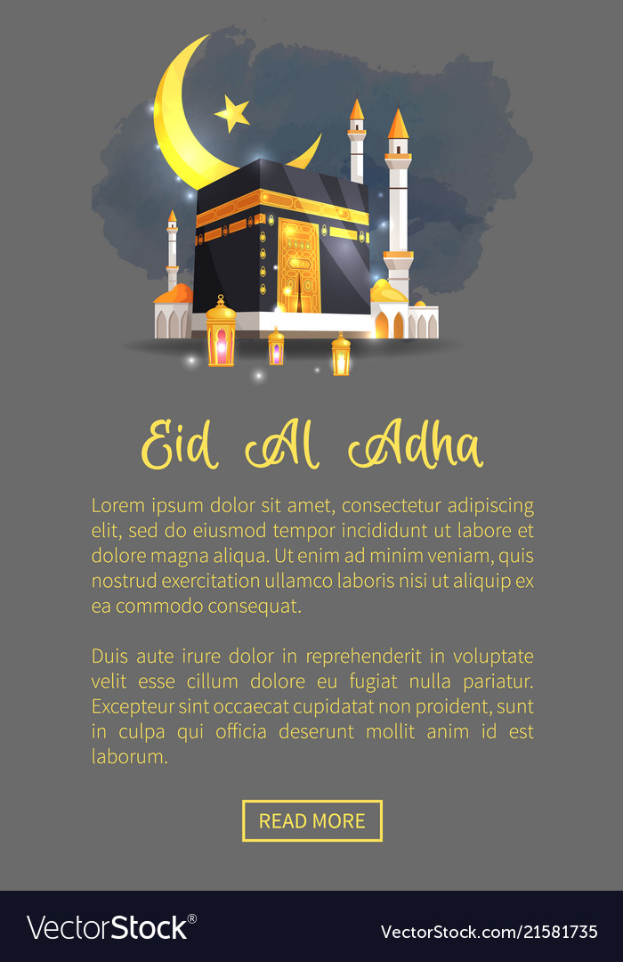 Eid al adha holiday on web page in night mode