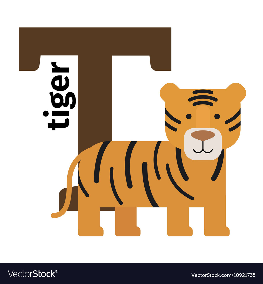 English animals zoo alphabet letter T