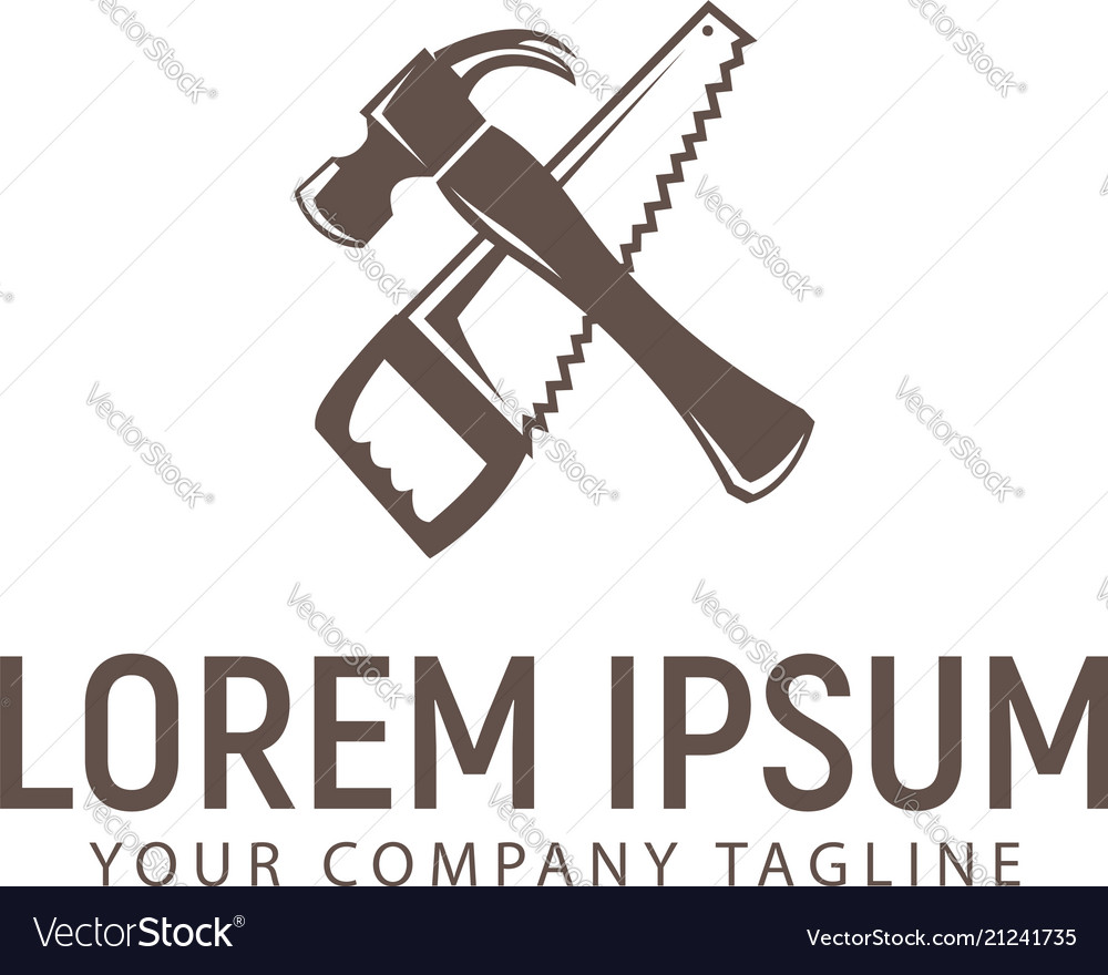Hammer and saw logo design concept template vector image