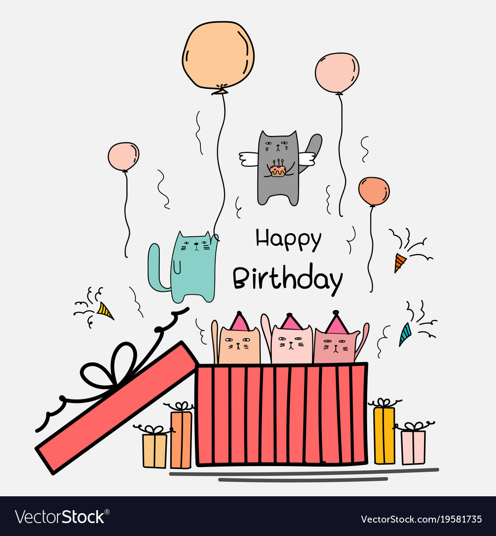 Happy Birthday Card With Cute Cat In The Big Gift Vector Image