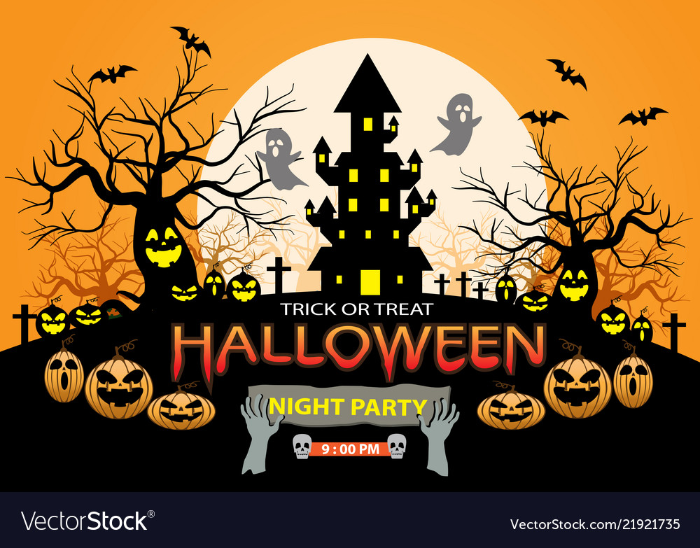 Happy halloween night party holiday celebration