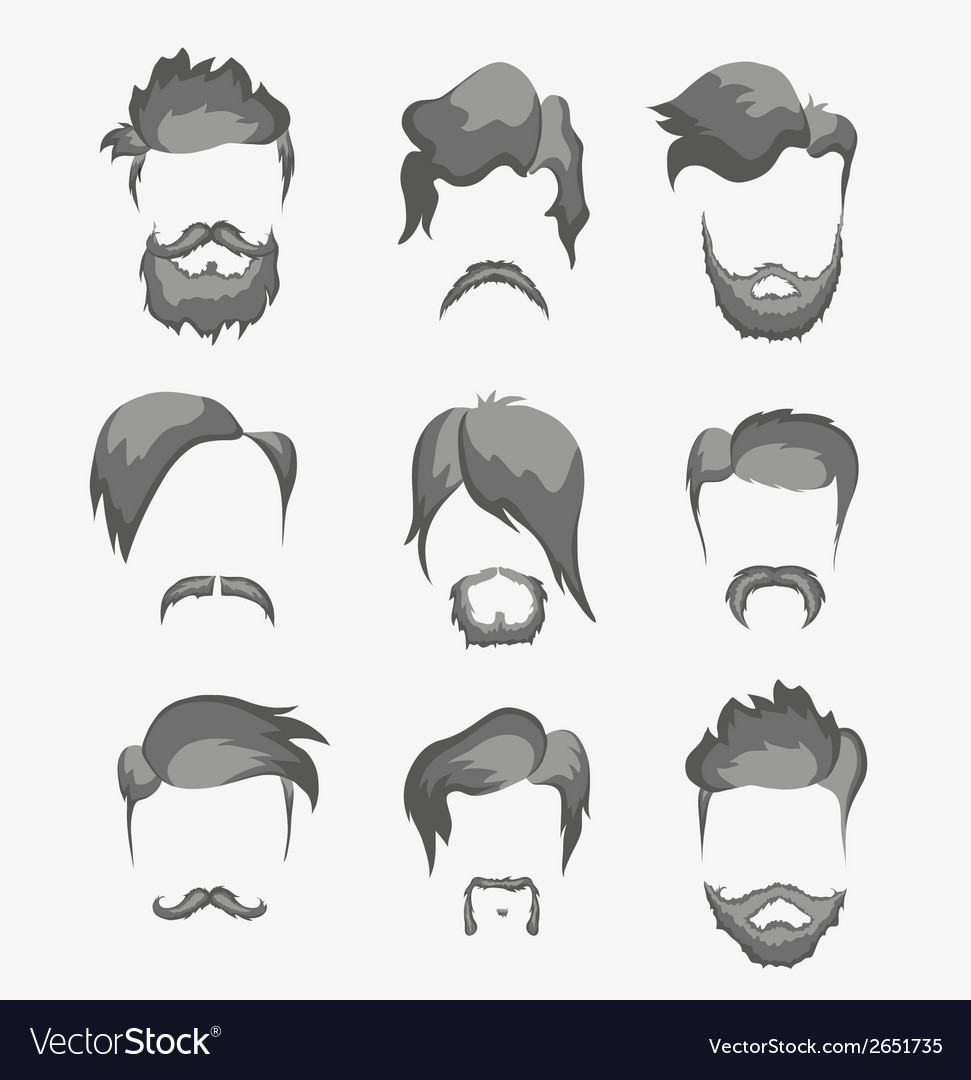 Mustache beard and hairstyle hipster