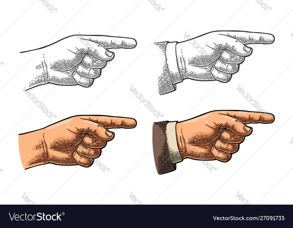 Pointing finger hand sign for web poster info