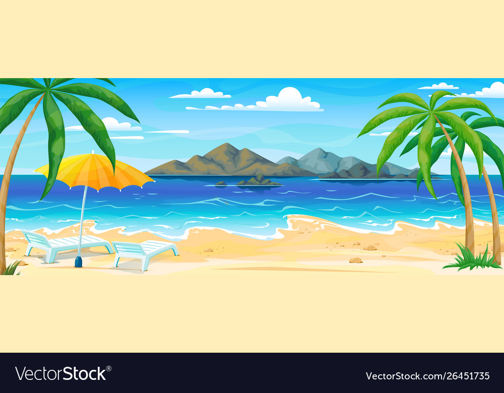 Sea beach summer landscape ocean coast panorama