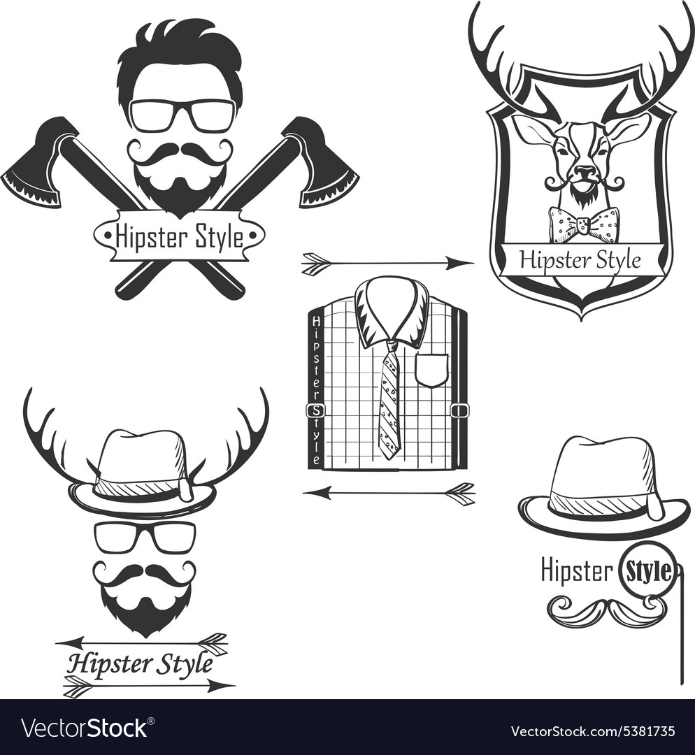 Set of Hipster style logosbadges labels and vector image