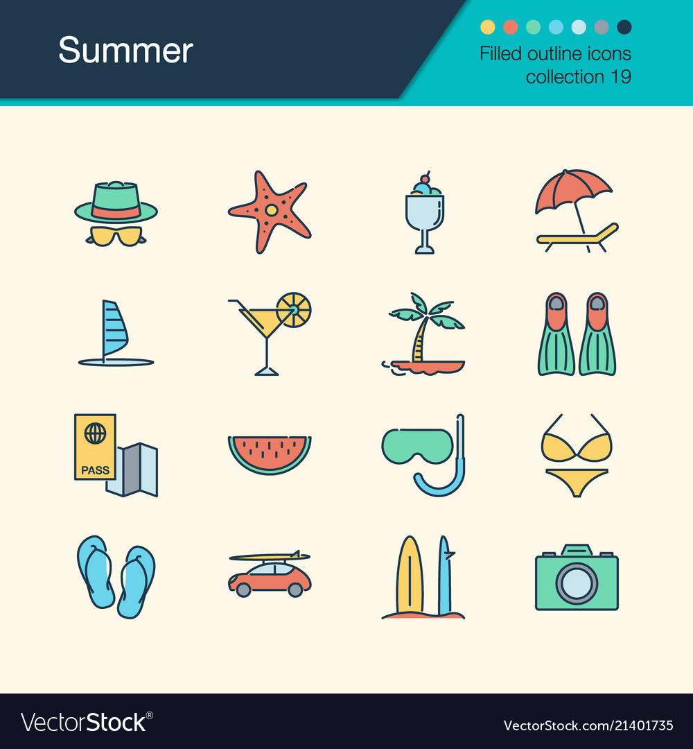 Summer icons filled outline design collection 19