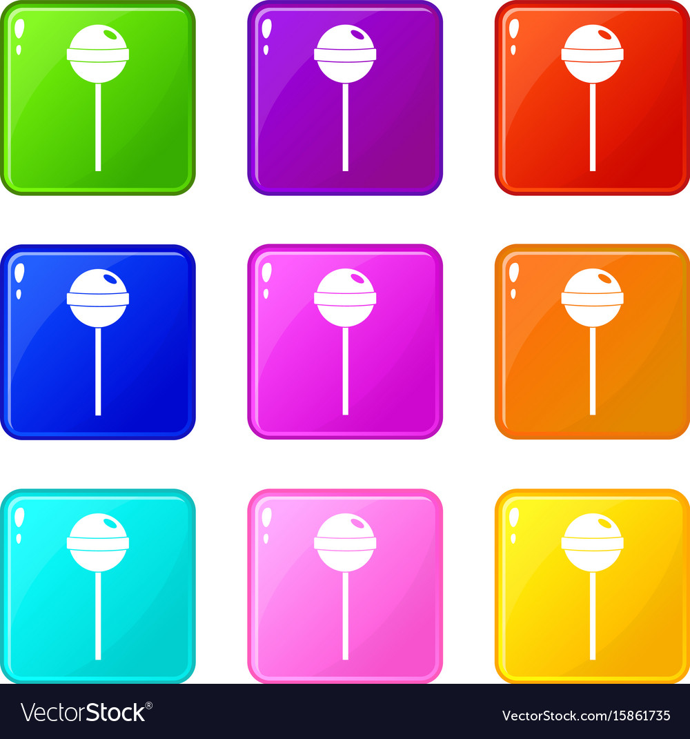 Tasty candy icons 9 set vector image