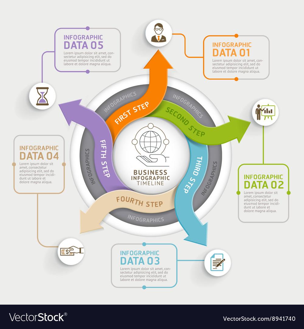5 step arrow circle infographics template