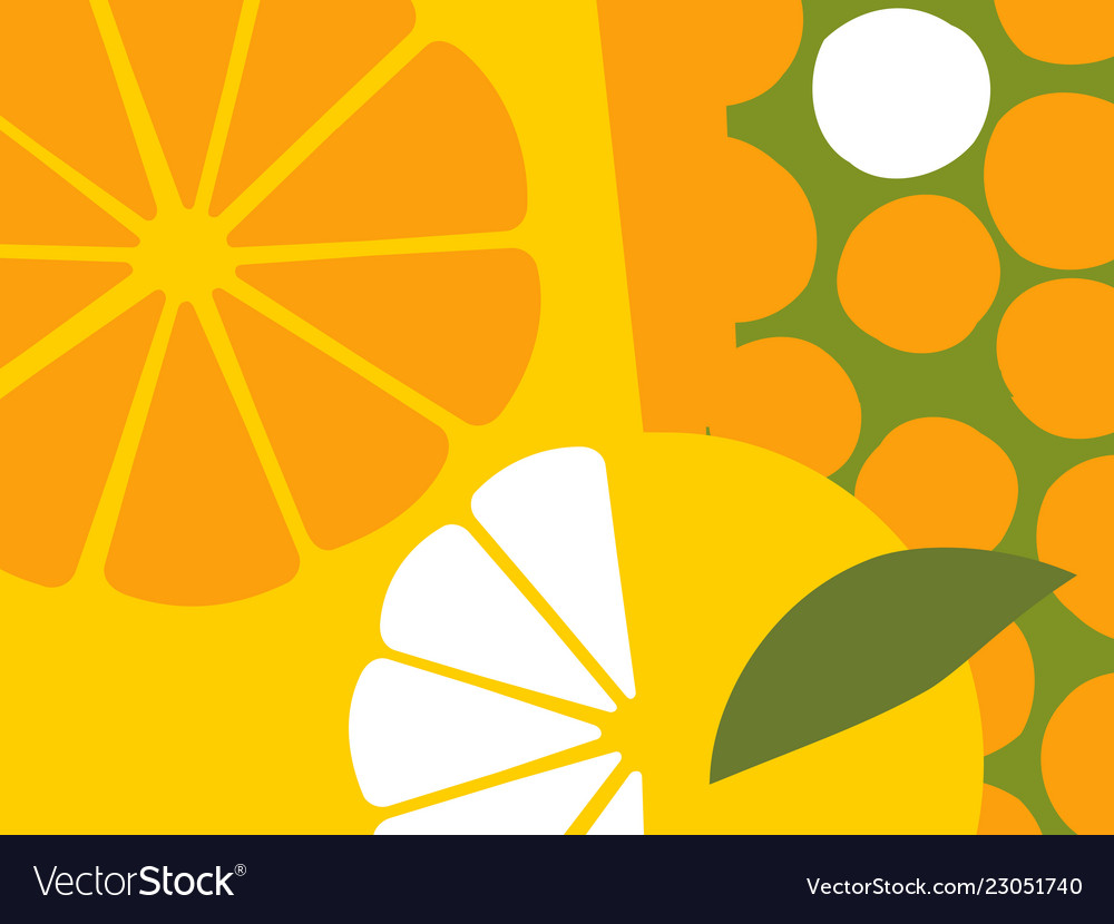 Abstract Orange Fruit Design In Flat Cut Out Style