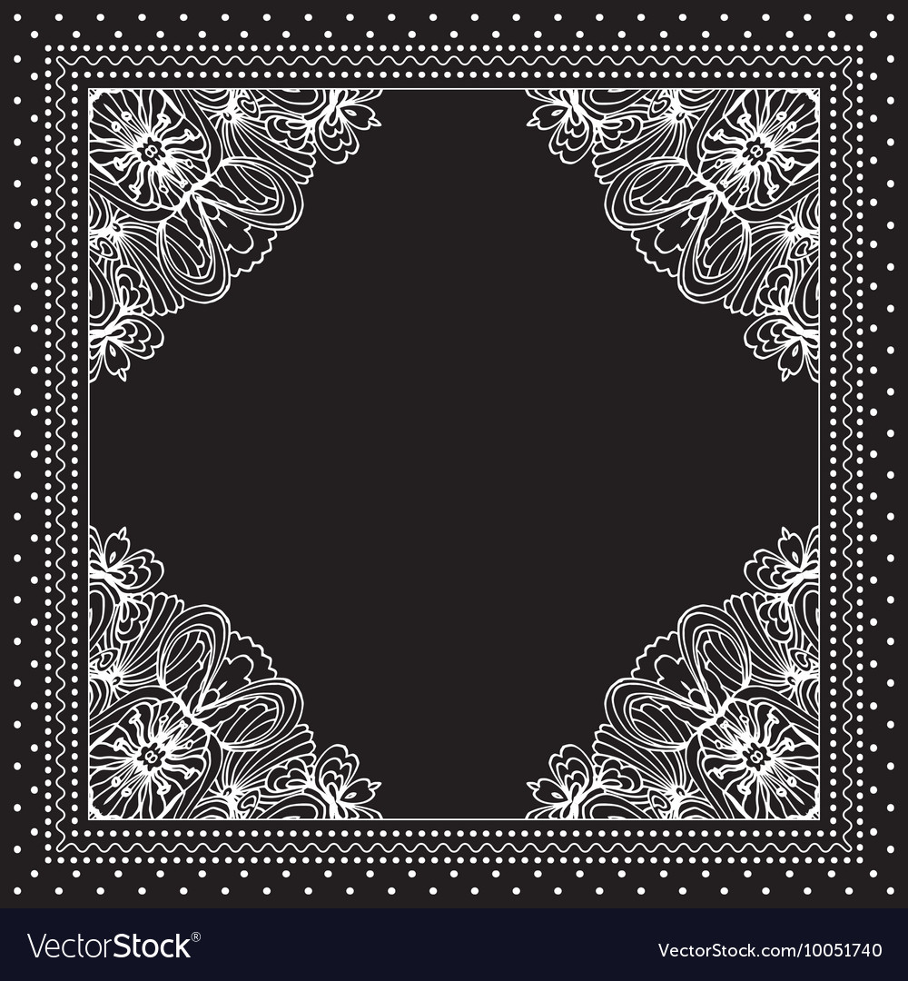 Black and white bandana print design with borders