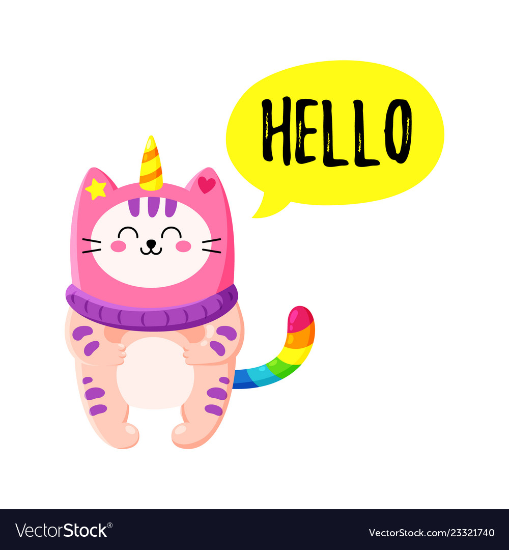 Cute cartoon doodle cat