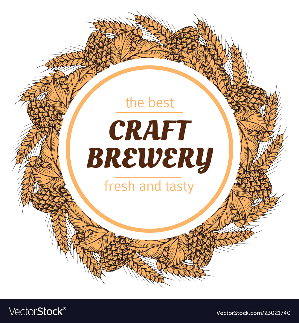 Doodle sketch brewery vintage round banner
