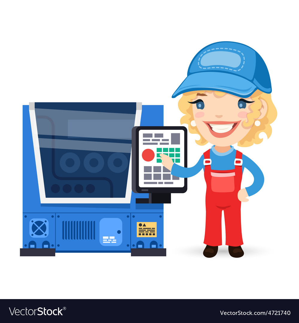 Female Factory Worker is Setting Up CNC Machine vector image