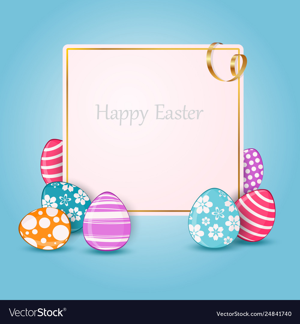 Happy easter card with colorful eggs and place