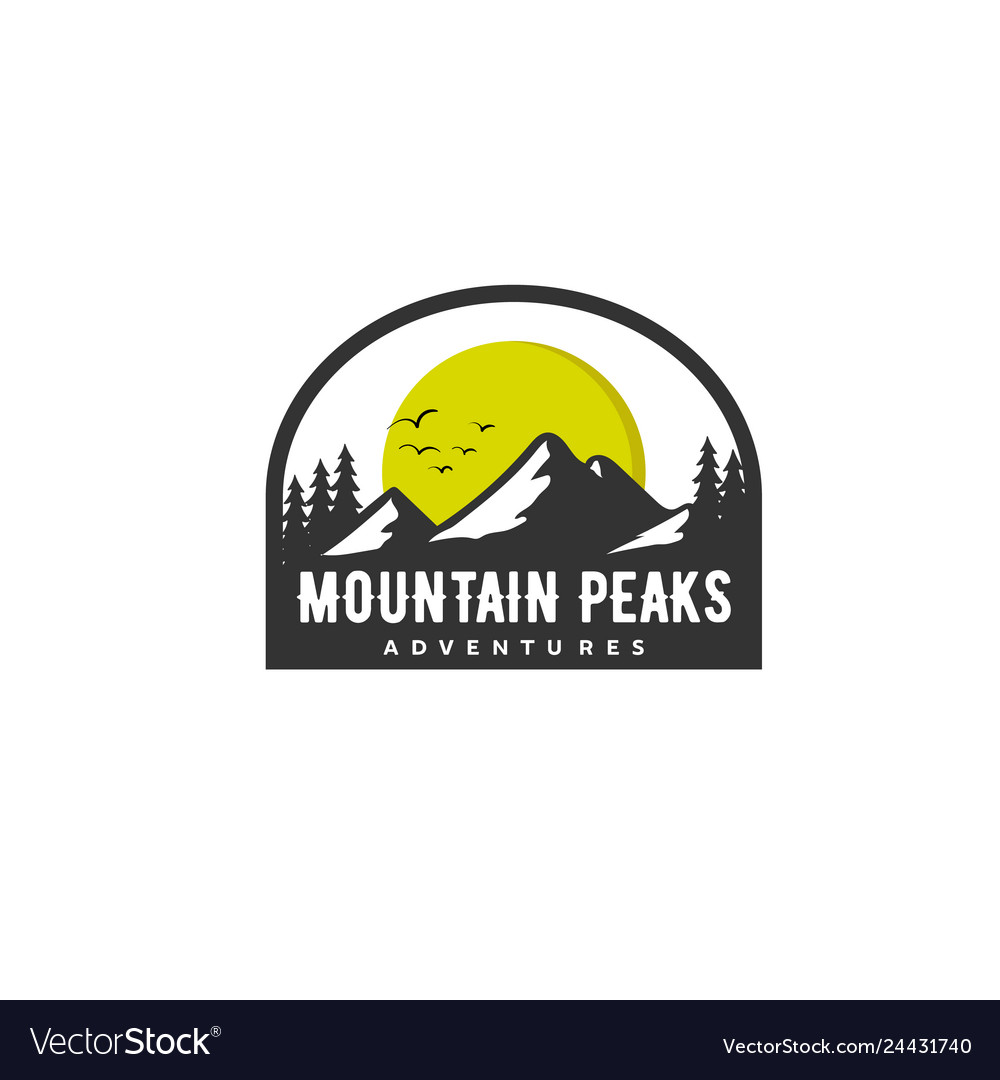 Mountain peaks logo designs with sun and wildness