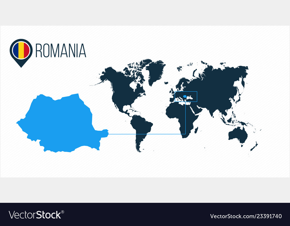 Romania location on the world map for Royalty Free Vector
